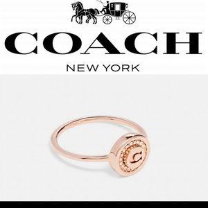 New Coach Gold Tone Rhinestone Sig. C Logo Pave Pendant Ring Size 6